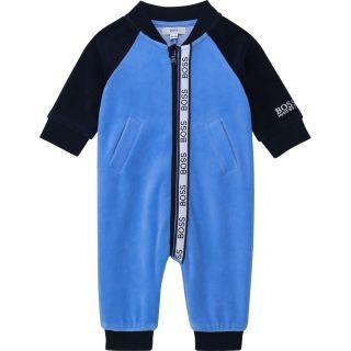 Baby Boys Blue Velour Romper