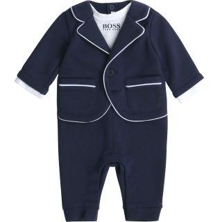 Baby Boys Navy Suit Romper