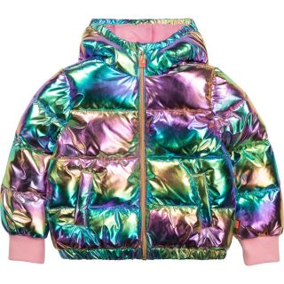 Girls Rainbow Hooded Puffer