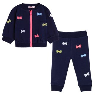 Baby Girls Navy Bow Tracksuit