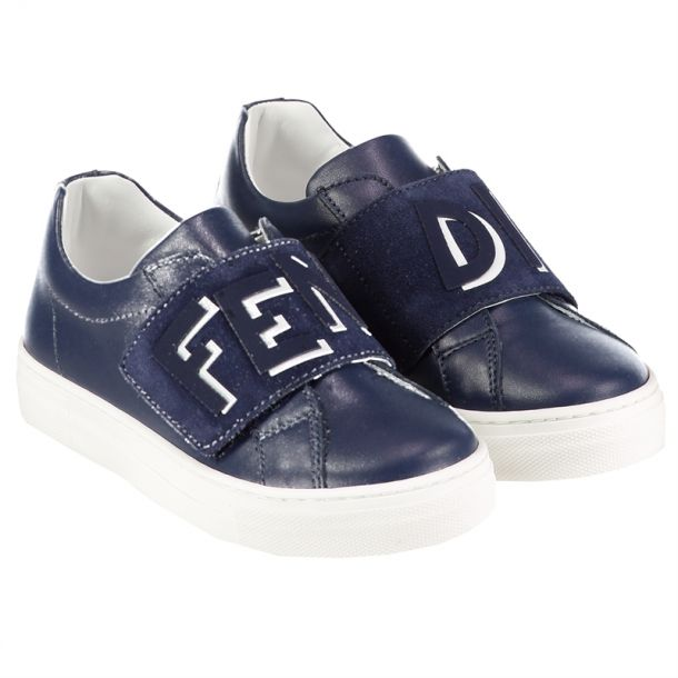 Boys Navy Slip On Trainers