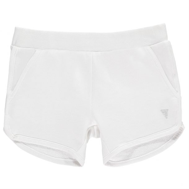 Girls White Branded Shorts