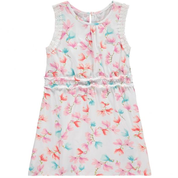 Girls White Floral Print Dress