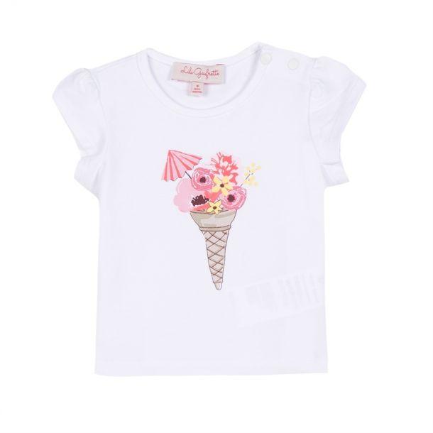 Baby Girls White Ice Cream T-shirt