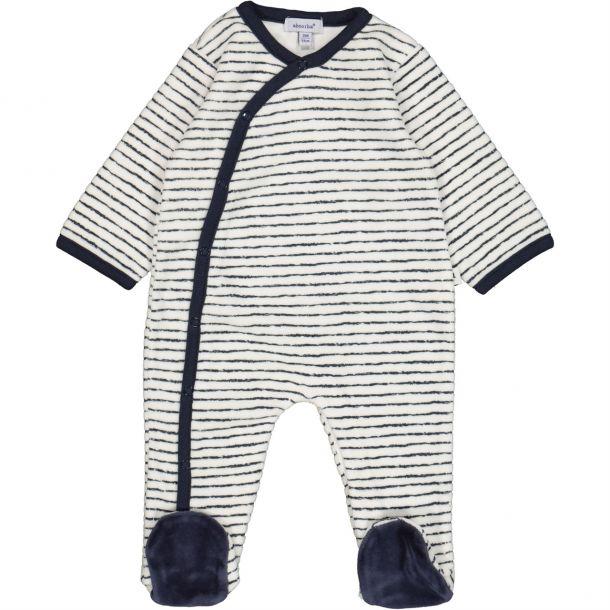 Baby Velour Striped Romper