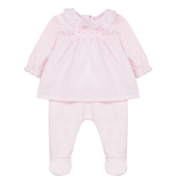 Baby Girls Pink Overlay Romper