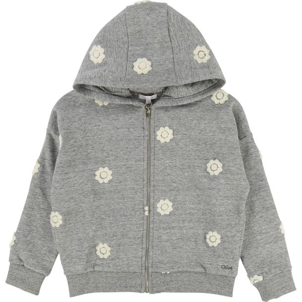 Girls Grey Hooded Zip Up Top
