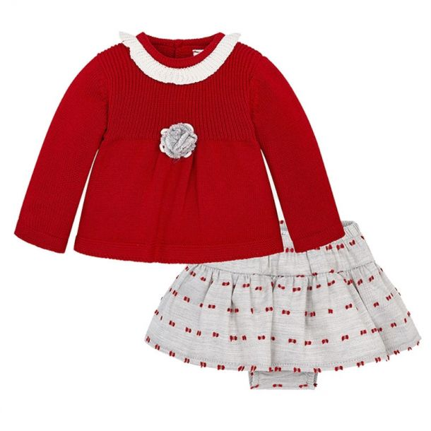 Baby Girls Knit Top And Skirt