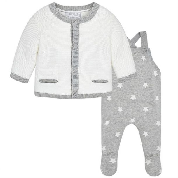 Baby Boys Knit Dungaree Set