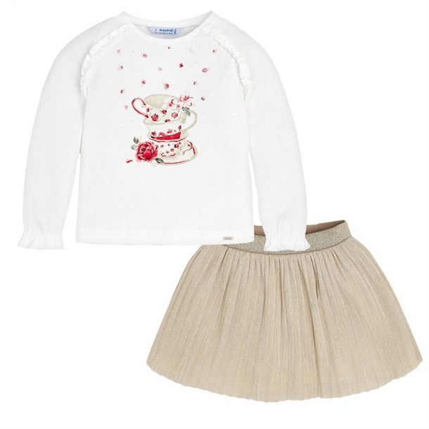 Girls T-shirt & Metallic Skirt