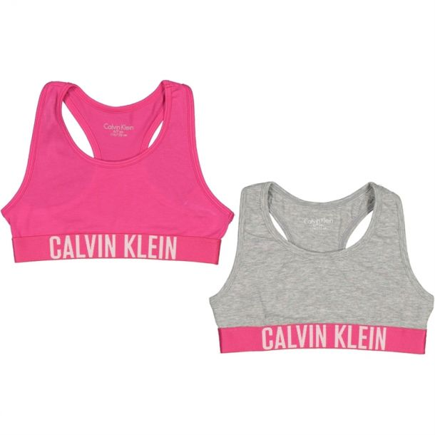 Girls Pink & Grey Bralette Set