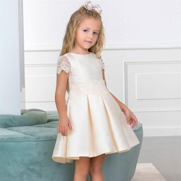 Girls Ivory Lace Trim Dress