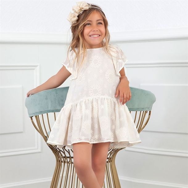 Girls Embroidered Daisy Dress