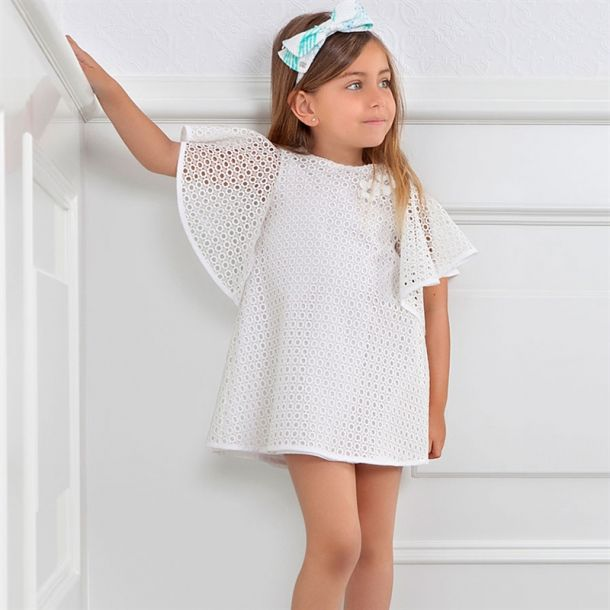 Girls Ivory Embroidered Dress