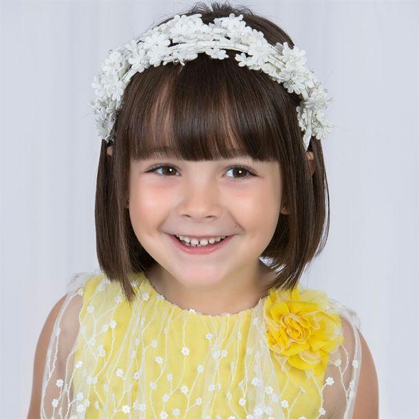 Girls White Daisy Headband