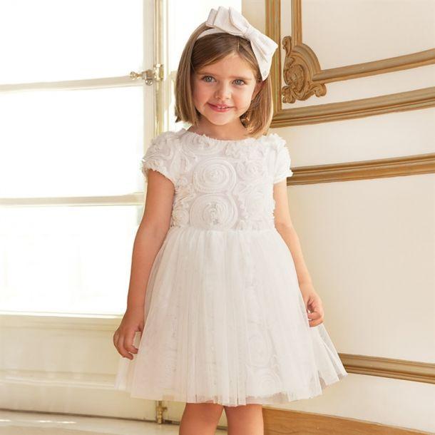 Girls White Flower Dress