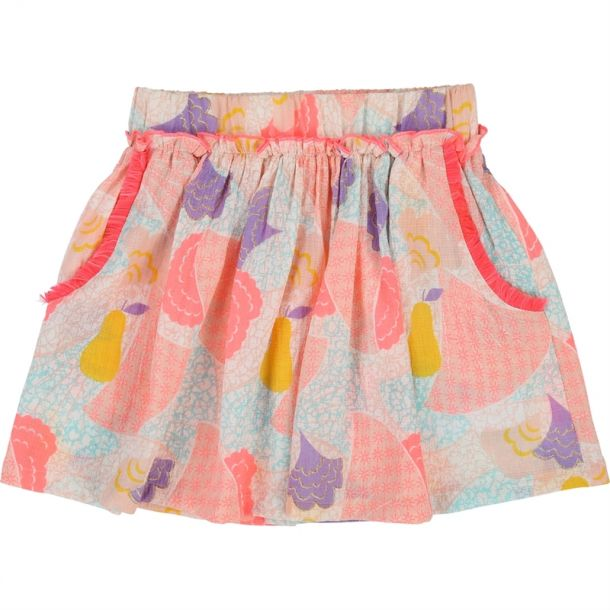 Girls Pink Jaquard Skirt