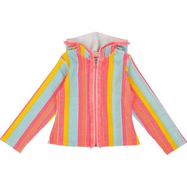 Girls Stripe Zip Up Cardigan