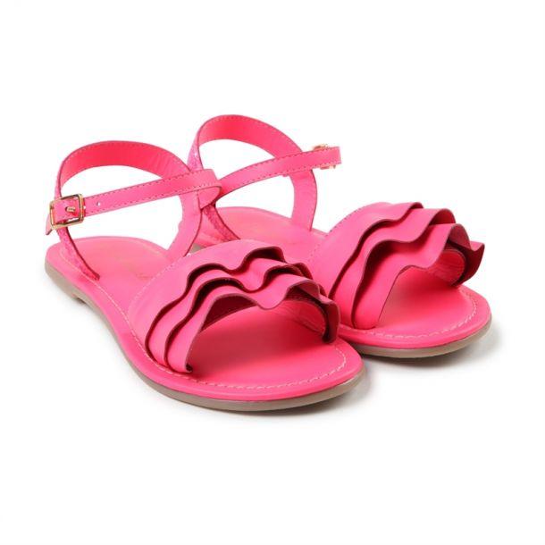 Girls Leather Frill Sandal