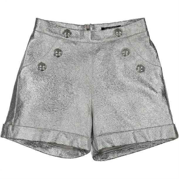 Girls Silver Button Shorts