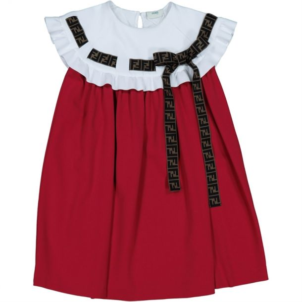 Girls Red Dress With Logo