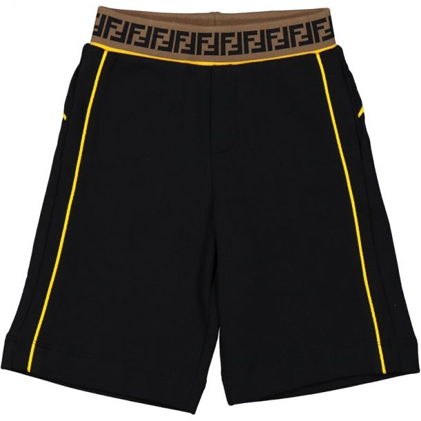 Boys Black Shorts With Piping