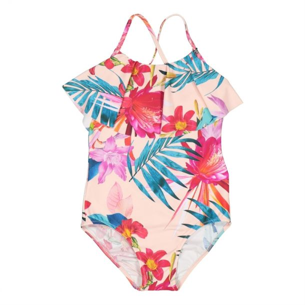 Girls Pink Floral Swimsuit