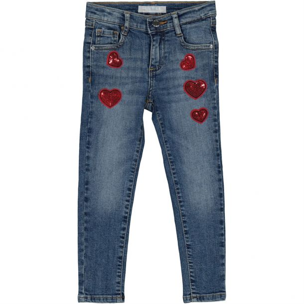 Girls Sequin Heart Denim Jeans