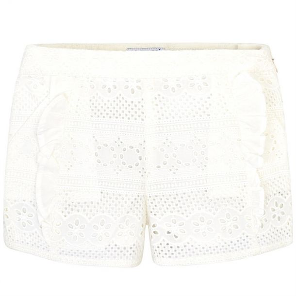 Girls Ivory Lace Shorts
