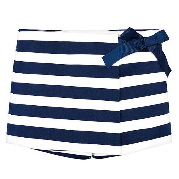 Girls Navy Stripe Shorts