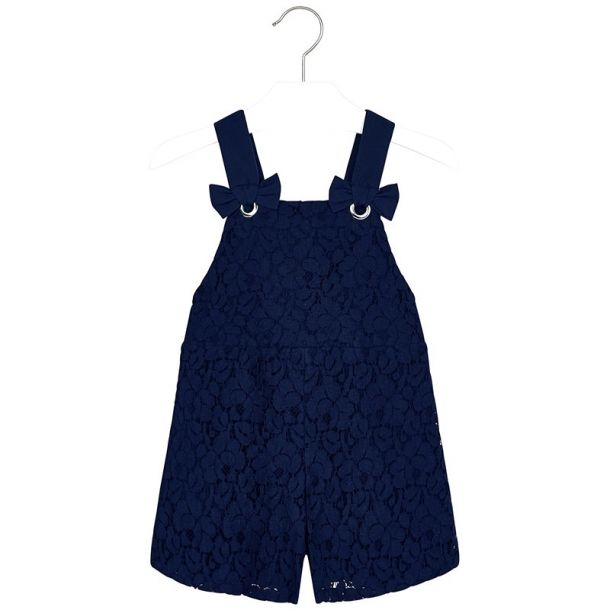 Girls Lace Short Dungarees