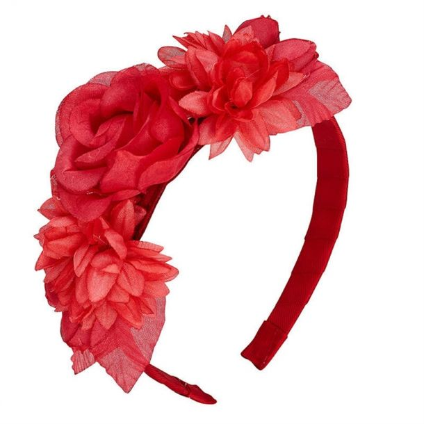 Girls Red Flower Headband