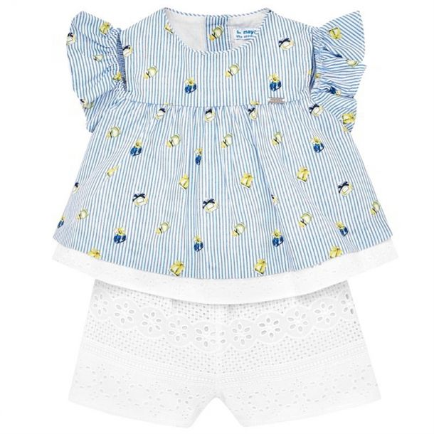 Baby Girls Stripe Lace Playsut