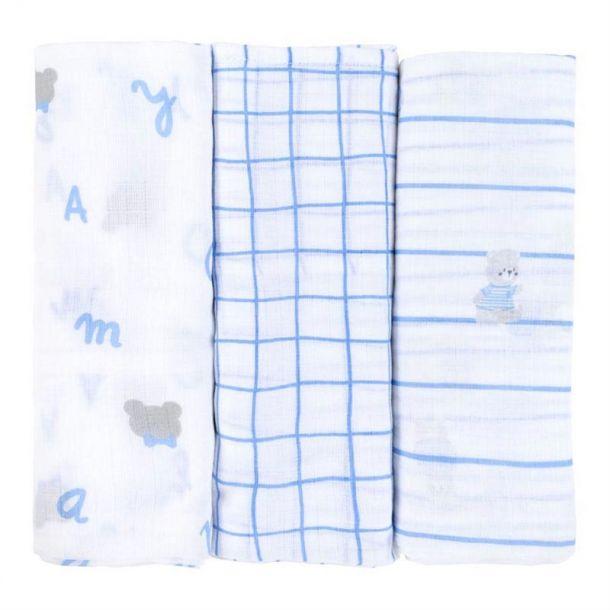 Baby Blue Set Of 3 Muslins
