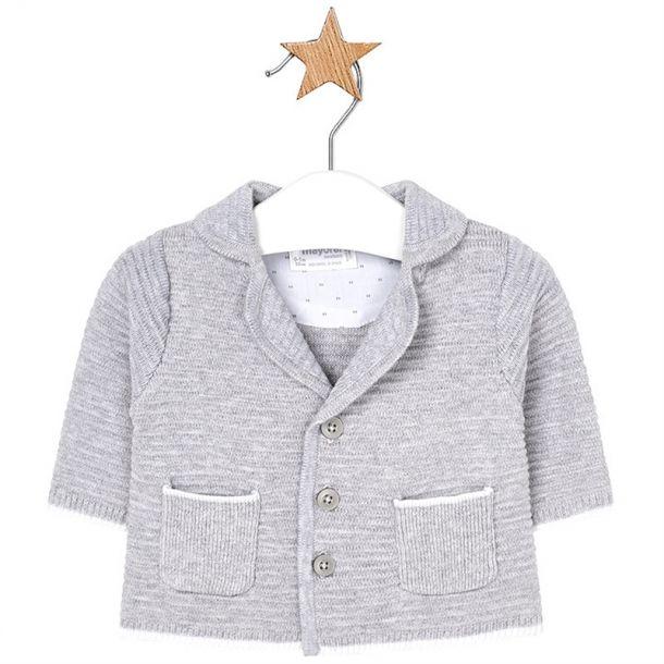 Baby Boy Grey Ribbed Cardigan