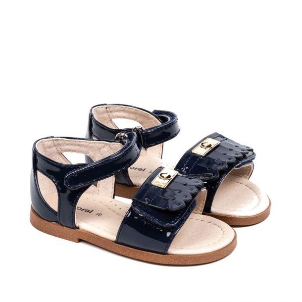 Girls Navy Patent Sandal