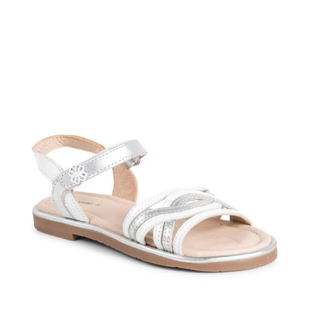 Girls Ivory Leather Sandals
