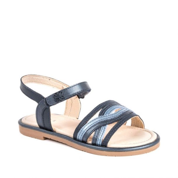 Girls Navy Leather Sandals