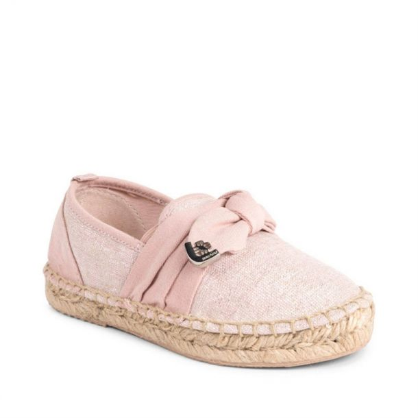 Girls Pale Pink Bow Espadrille