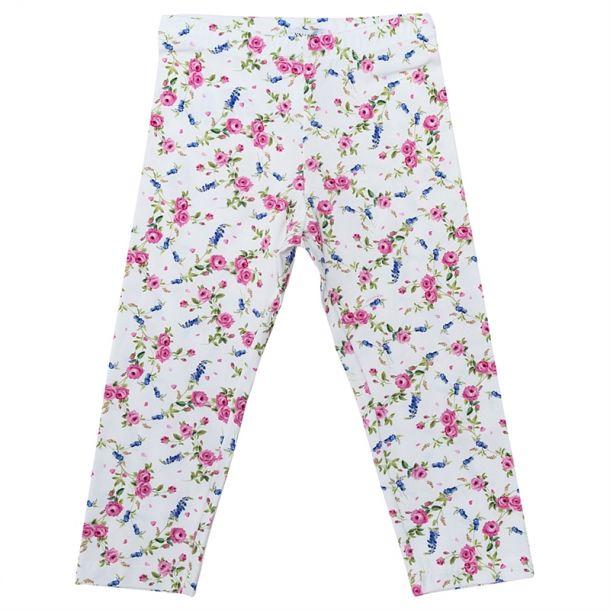 Girls White Floral Leggings