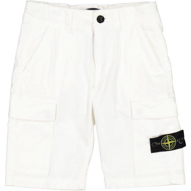 Boys White Badge Branded Short