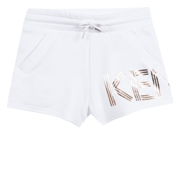 Girl Kenzo Logo White Shorts