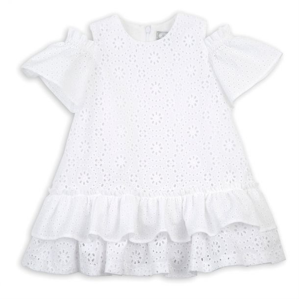 Girls White Anglaise Dress