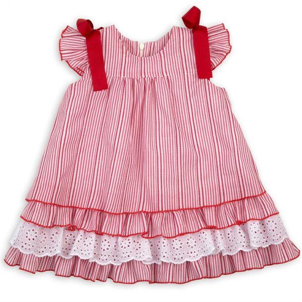 Girls Stripe Bow Anglaise Dress