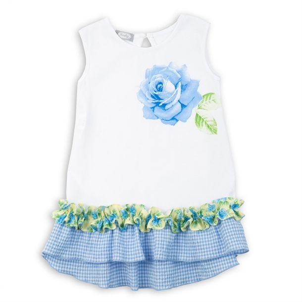 Girls Jersey Rose Print Dress
