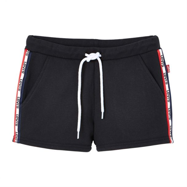 Girls Black Logo Stripe Shorts
