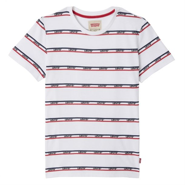 Boys Stripe Logo White T-shirt