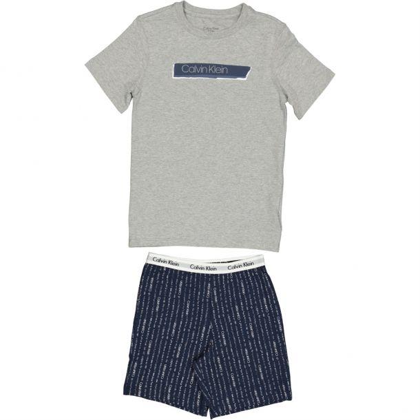 Boys Grey & Navy Pj Short Set