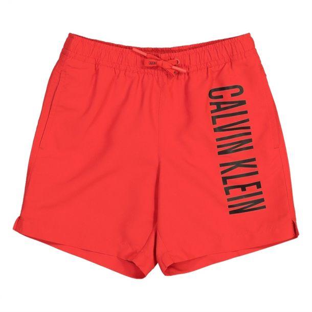 Boys Red Branded Swim Trunks