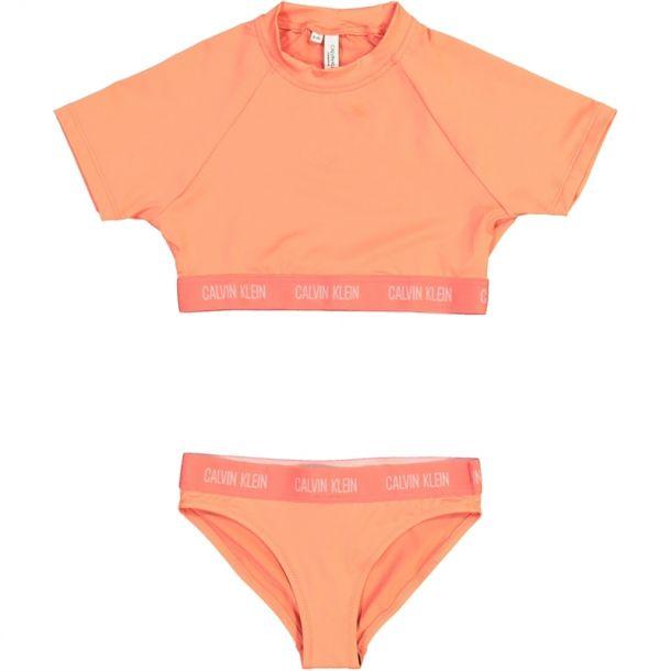 Girls Peach Rashguard Set